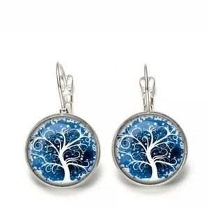 New Winter Tree of Life Glass Cab Silver Earrings